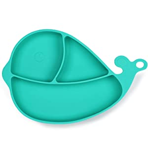 Termichy Suction Plates for Babies, Baby Divided Plate, Non-Slip Silicone Divided Plate for Toddlers and Infants, BPA Free, Microwave, Dishwasher and Oven Safe (Green)