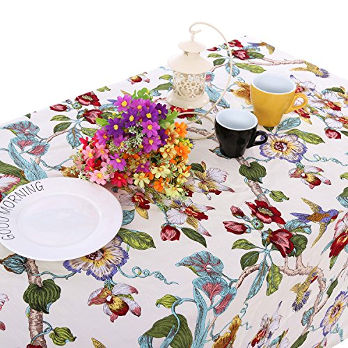 Pastoral Countryside Style Linen Cotton Table Cloths/Table Cloth with Delicate Blooming Floral and Lively Birds Design,White,55