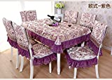 Luxury thickening lace rectangular table cover for dining room kitchen chair cover (1 table cloth 78X59 inch +6 chair covers, Chinese style Purple)