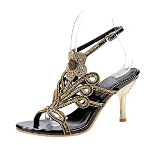Women's Sparkle Crystal Cutouts Stiletto Ankle Strap Slingback High Heels Party Dress Sandals Black PU Size 8 EU39