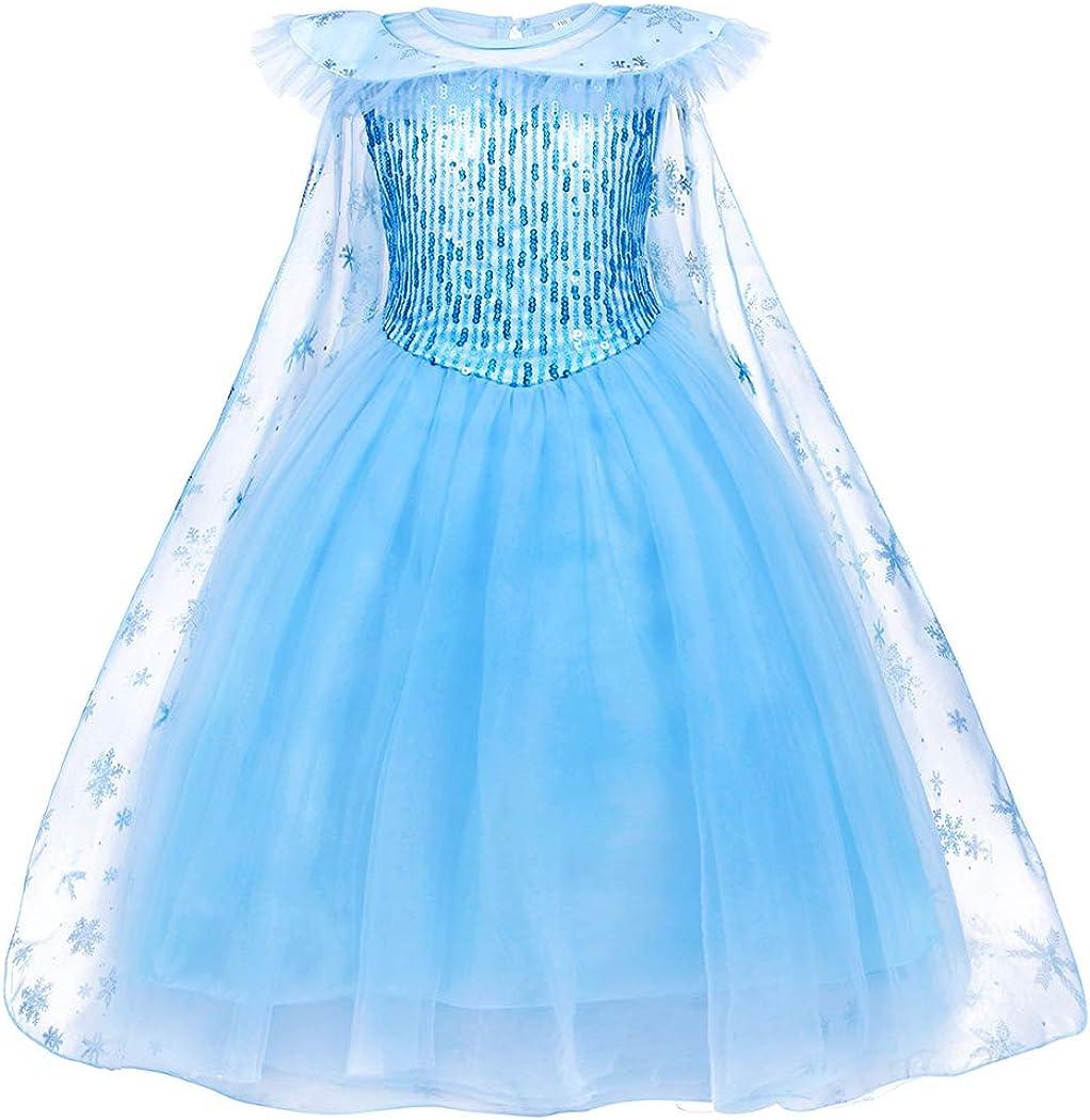 Jurebecia Girls Costume Princess Dress up Birthday Halloween Kids Party Cosplay Ourfit 2-12 Years