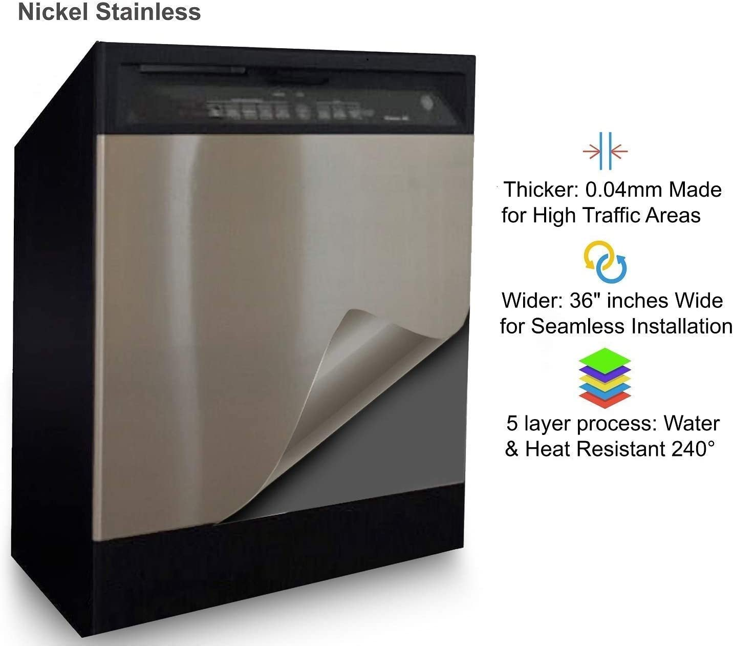 Dishwasher stainless steel Film Panel Cover Decal Panel Sticker Update