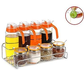GARDEN botellas del condimento Cocina de espesamiento de vidrio Caja de condimentos Ensalada Set de tanque