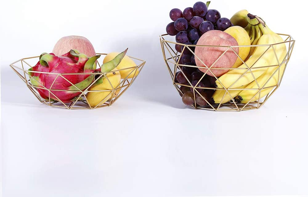 Fruit Bowl, 2 Pack Metal Wire Fruit Basket Holder for Kitchen, Countertop and Home Décor, Storage Basket Stand for Vegetables and Snacks