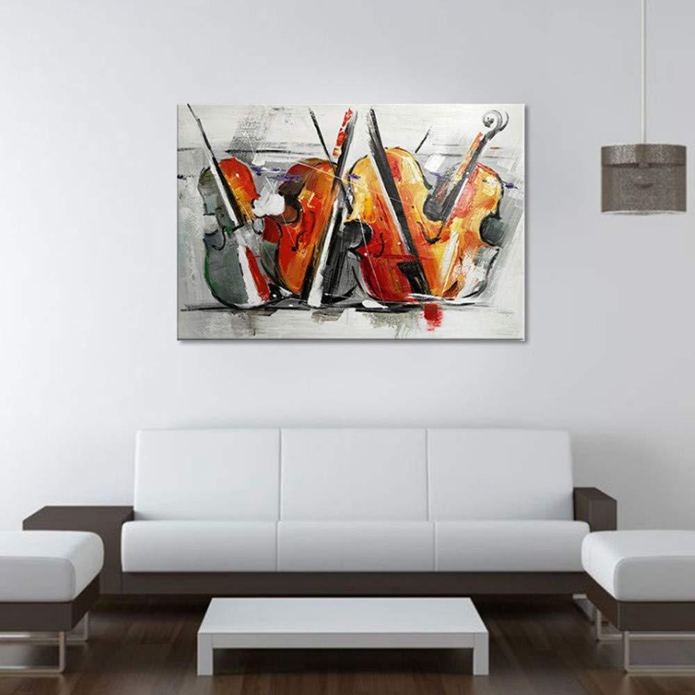 OME&MEI Mano Pintado A Mano OME&MEI Color Abstracto Música Guitarra Instrumento Musical Pintura Al Óleo Pintura Decorativa Sin Marco, 30X50Cm d40876