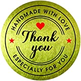 "Handmade with Love Especially for you Thank You Stickers 1.5"" (Pack of 500) Gold Foil Round Circle Bakery Labels Red Heart Star Sign Self Adhesive Decorative Sealing Packaging"