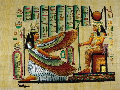 ISIS AND MAAT ORIGINAL HAND PAINETD PAPYRUS 8