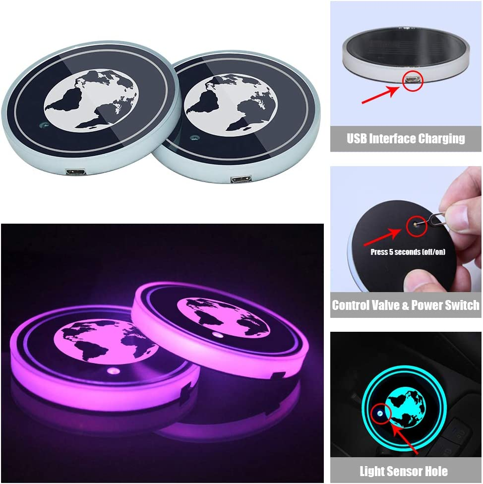 Snow Eagle-L LED Car Cup Holder Lights LED Interior Atmosphere Lamp Car Coaster Light with 7 Colors Changing USB Charging Mat Luminescent Cup Pad
