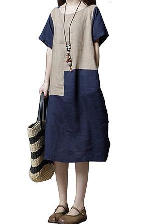 a92980925d ASHER FASHION Women s Dresses Short Sleeve Casual Midi Dress Summer Loose Beach  Linen Dress Navy