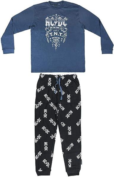Cerdá Long Pajamas Interlock Music ACDC, Black, M Unisex bebé