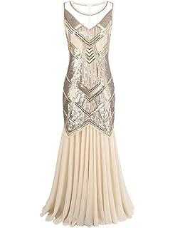 Kayamiya Womens 1920s Beaded Sequin Geometric Pattern Maxi Long Gatsby Flapper Prom Dress