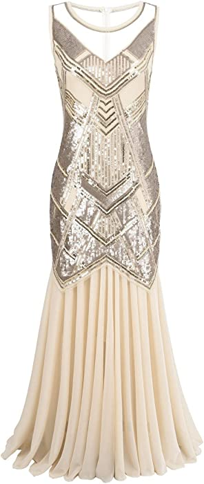 Womens 1920s Beaded Sequin Geometric Pattern Maxi Long Gatsby Flapper Prom Dress