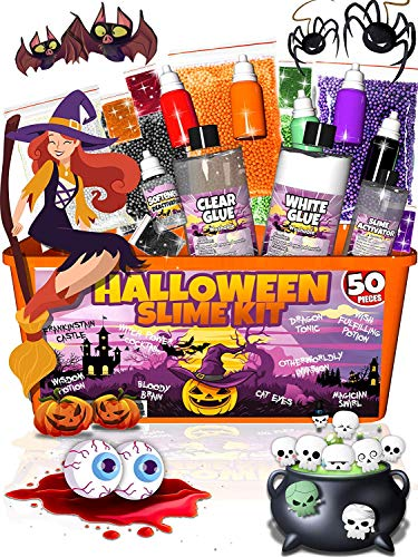 Halloween Diy Recipes (Halloween Slime Kit for Girls and Boys - 50 Pieces DIY Slime Making Set Supplies - Slime Glue, Activator, Glowing, Creepy, Scary, and Spooky Add Ins - Gift for Kids)