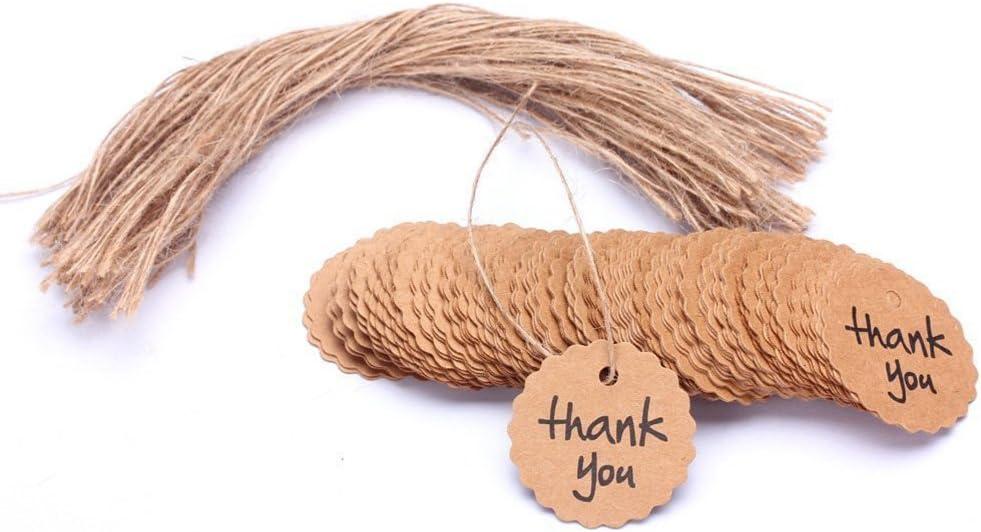 ROSENICE Etiquetas de regalo de papel de Kraft Gracias para boda cumpleaños regalo tarjeta DIY etiqueta (Marrón) - 100 Piezas