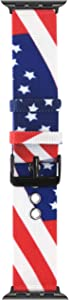OMECKY Nylon Stripe Watch Strap Compatible with Apple Watch American Flag Band, for iWatch Series 6/5/4, SE (44mm) Series 3/2/1 (42mm)