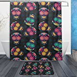 ALAZA Mexican Sugar Skulls Shower Curtain Polyester Fabric Bathroom Curtain Set with Mats Rugs-12 Hooks
