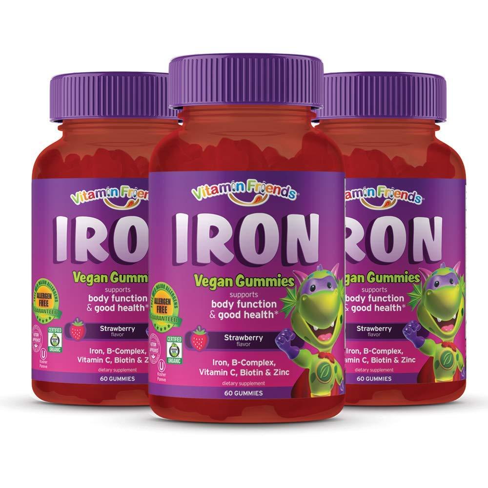 Vitamin Friends Gummy Bear Iron Supplement for Kids (60 Day Supply) with B-Complex, Vitamin C, Zinc, Biotin - Iron Gummies Support Children Healthy Body Function and Iron Levels