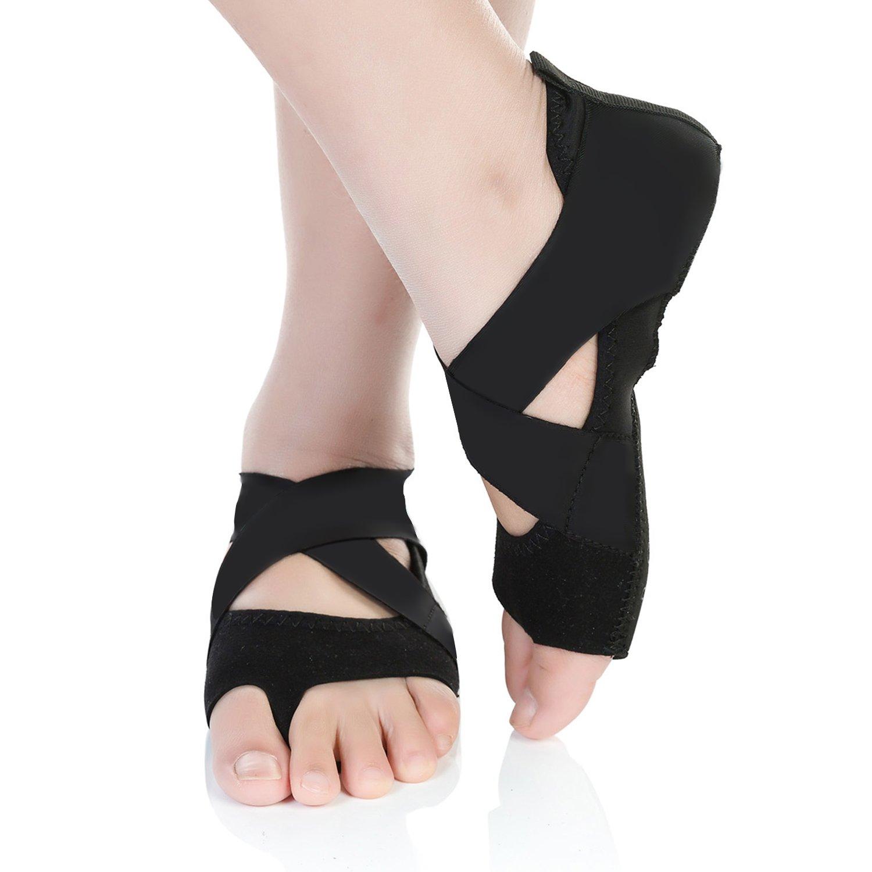 Barerun Women's Bellarina Shoes Half Toe Grip Non-Slip for Ballet Yoga Pilates Barre (13.5-1 M US Little Kid, Black)