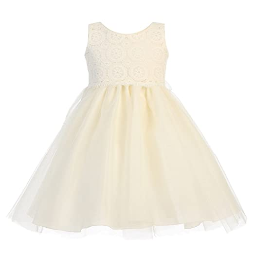 113176f296a Image Unavailable. Image not available for. Color  Lito Baby Girls Ivory  Lace Bodice Tulle Easter Flower Girl Dress ...