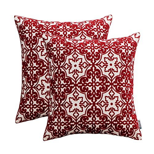 HWY 50 Embroidered Decorative Throw Pillows Covers Sets Cushion Cases for Couch Sofa Living Room Wine Red Modern Burgundy Elegant Floral Geometric 18 x 18 inch Pack of 2