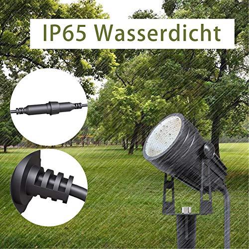 Gartenbeleuchtung,Azhien Gartenstrahler LED mit Erdspieß,3W 1800Lm Gartenleuchte,IP65 Warmweiß COB LED Gartenlampe 17.5M für Außen Wegbeleuchtung Rasenlicht Landschaftslampe Gartenleuchte,6er Set