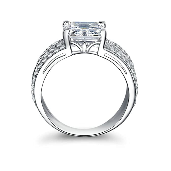 Free Engraving Silver Plated Ring Promise for Women Fashion Simple Style Geometric with White Cubic Zirconia CZ 5-12 Adisaer