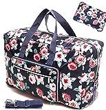 Large Foldable Travel Duffel Bag 50L Oversized Floral Travel Tote Hospital Bag Handbag Shoulder Weekender Overnight Carry On Bag Checked Luggage Bag For Women Men Girls Kids,Waterproof (flower rose)