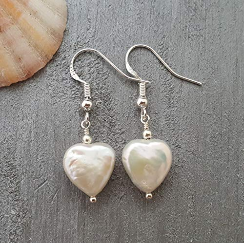 Handmade in Hawaii, Unique Natural Heart Shaped Pearl Earrings,