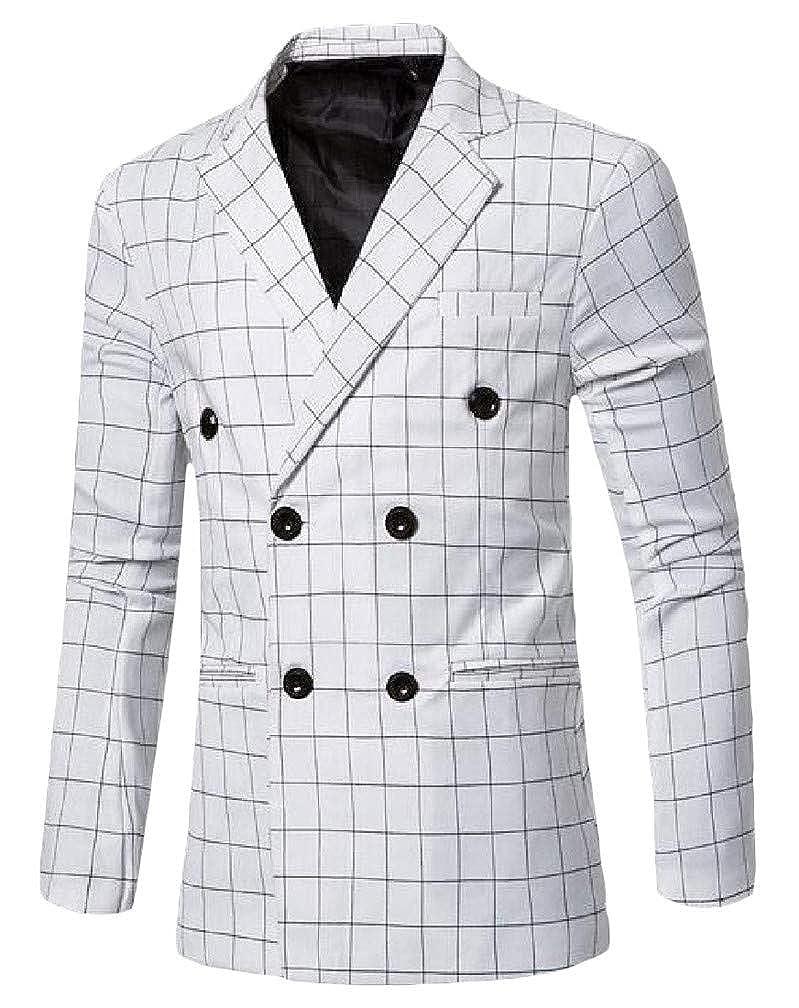 Pandapang Men Business Double-Breasted Lapel Neck Plaid Coat Sports Blazer Jacket
