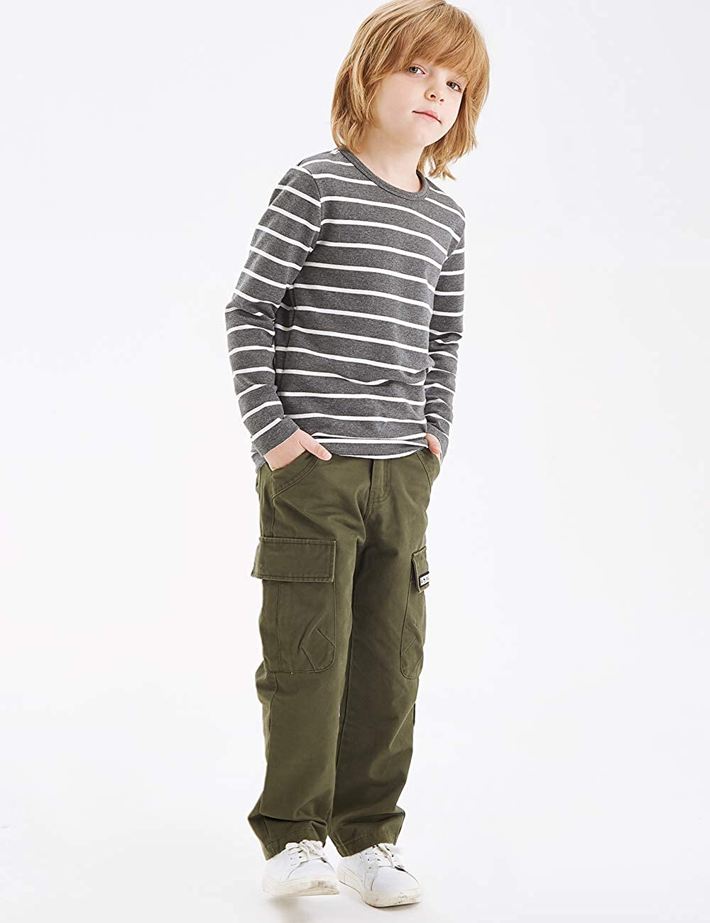 BYCR Boys 100/% Cotton Multi Pocket Chino Cargo Pants for Kids Size 5-18