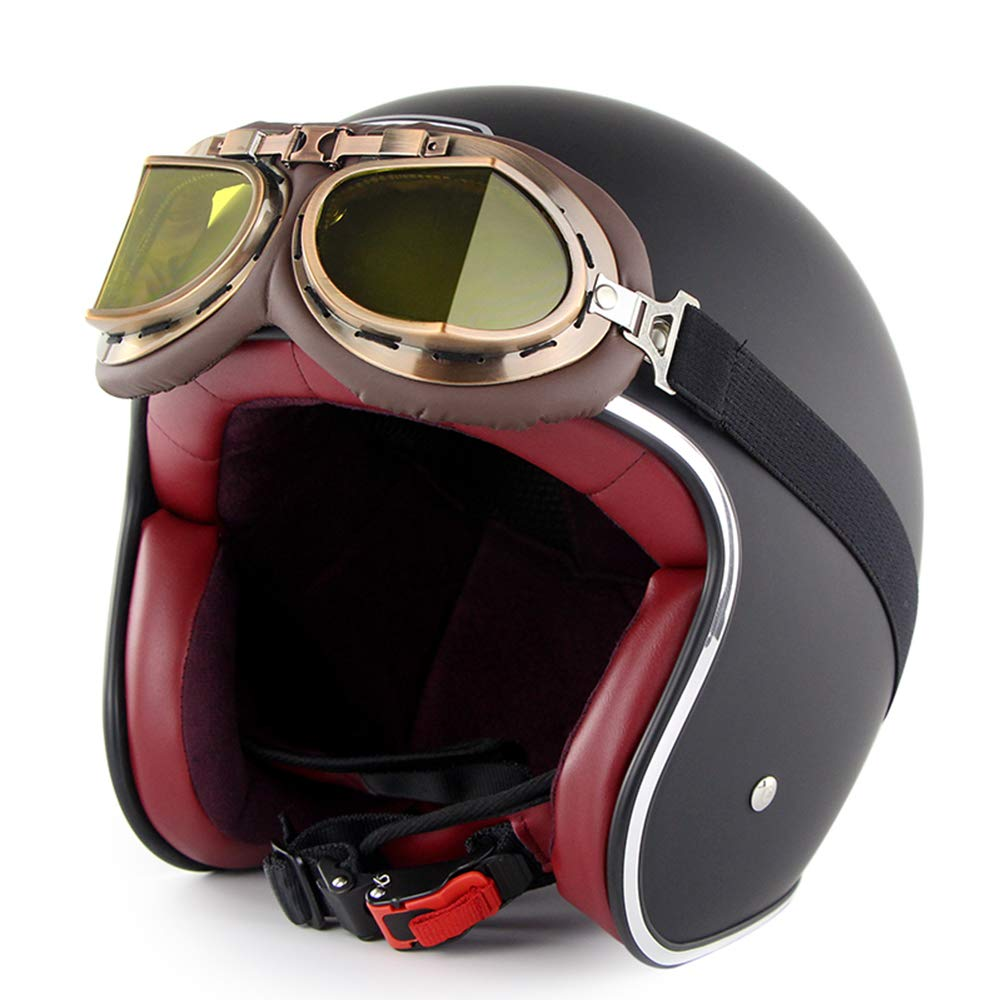 big sale on sale detailed pictures Shfmx Motorcycle retro half open face helmet and goggles DOT ...