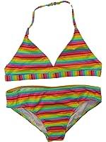OP Girls 2 PC Multi Neon Stripe Swimming Swim Suit Bikini Bathing Suit