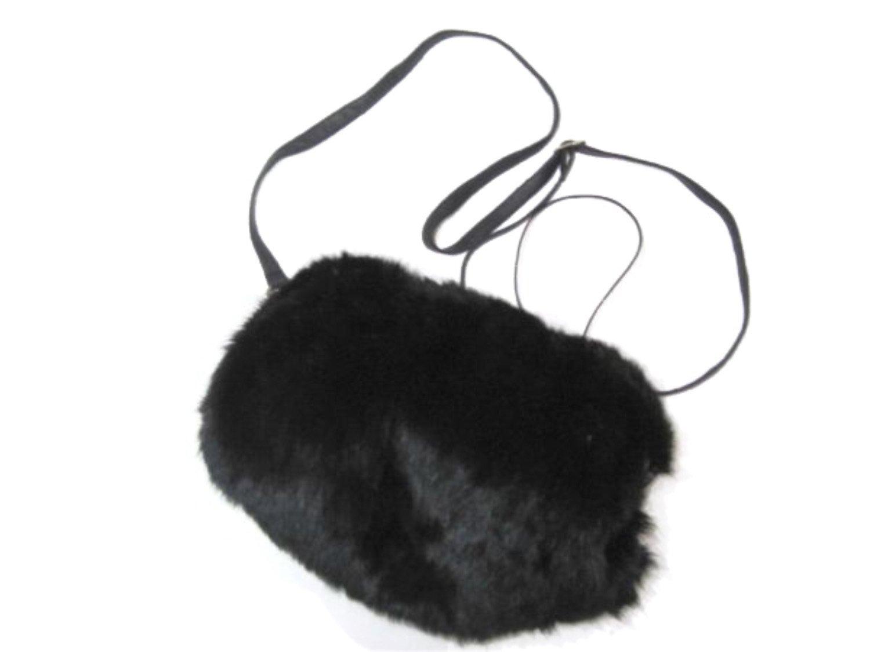 Rabbit Barrel Hand Muff in Black Color w/Leather Shoulder Belt-Large Size