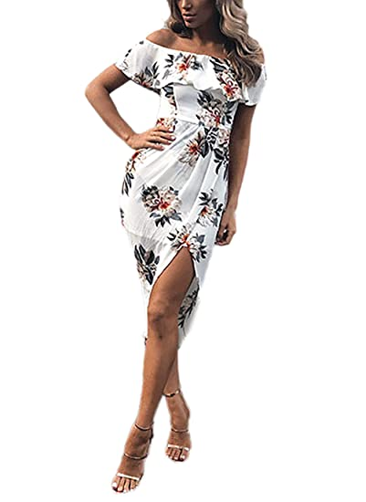Mujer Vestidos Verano Moda Floreadas con Volantes Vestido Tirantes Lindo Chic Único Irregular Irregular Slim Fit