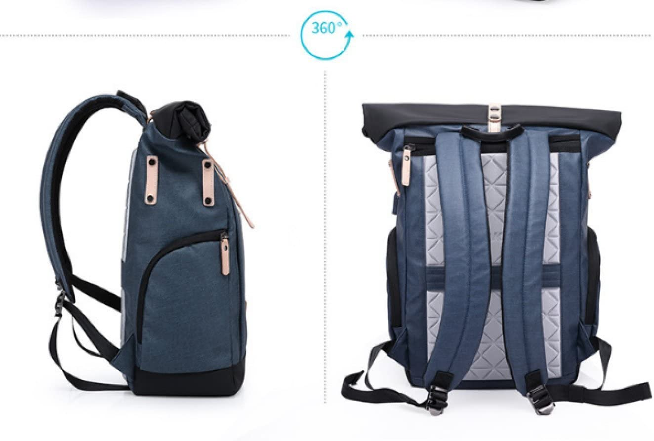 New Casual Backpack Male Collegers Bag Multi-function Oxford Computer Bag Large-capacity Backpack,Blue