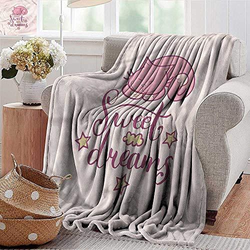 Xaviera Doherty Soft Blanket King Size Sweet Dreams,Cartoon Cat Stars Throw Blanket for Ultimate Comfort 70