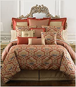 waterford olympia queen comforter set 4pc red blue gold damask floral home kitchen. Black Bedroom Furniture Sets. Home Design Ideas