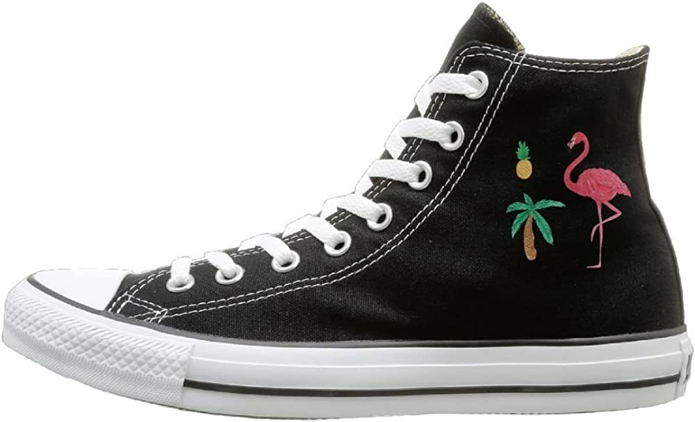 Aiguan Flamingo Pineapple Palm Tree Canvas Shoes High Top Casual Black Sneakers Unisex Style