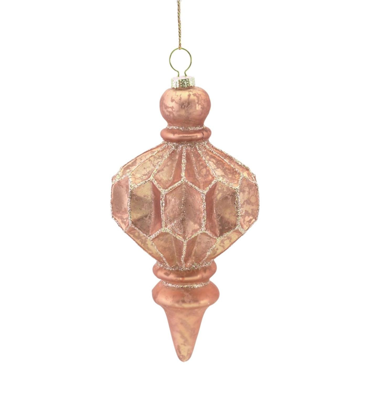 5.75'' Rich Elegance Blush Pink Glitter Mercury Glass Finial Christmas Ornament