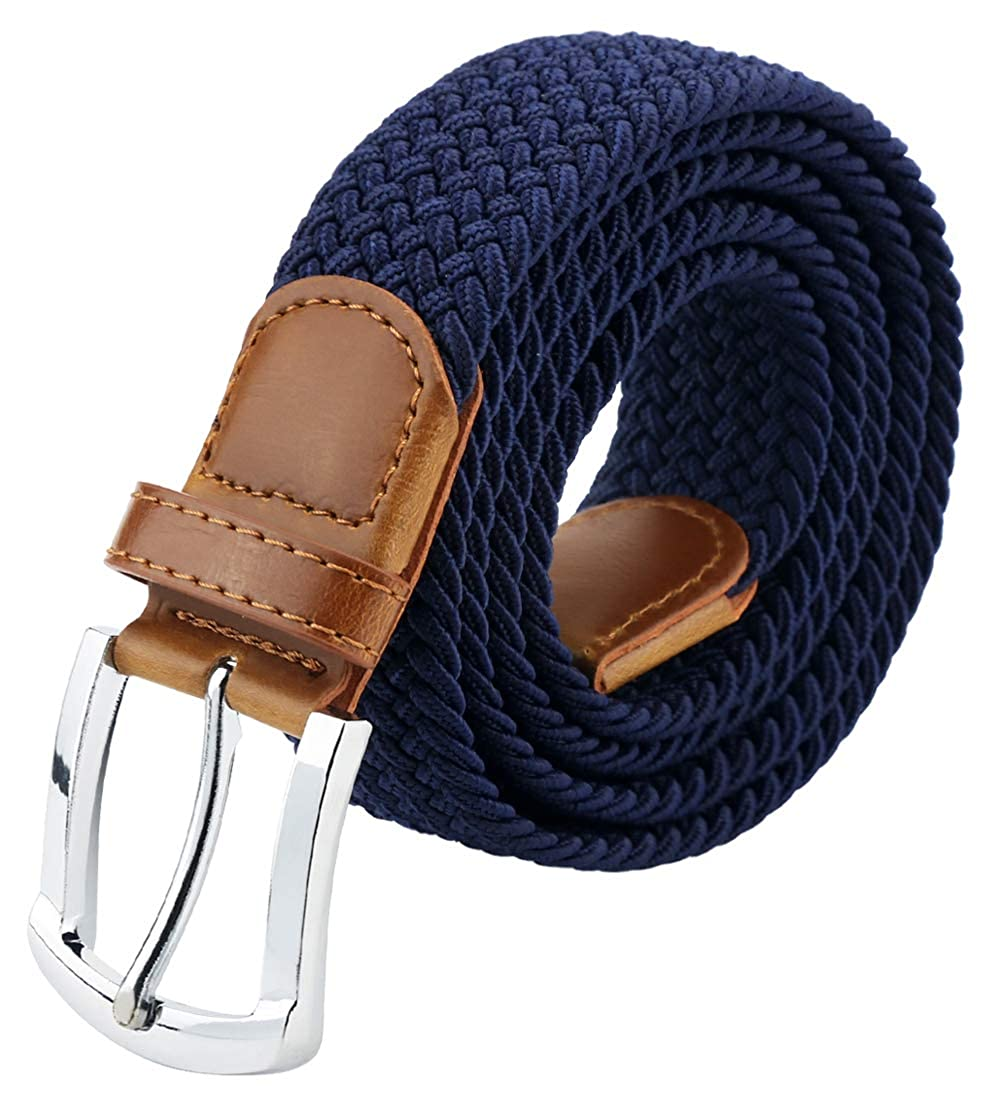 Men & Women Braided Elastic Belt with Leather Tip Pin Buckle