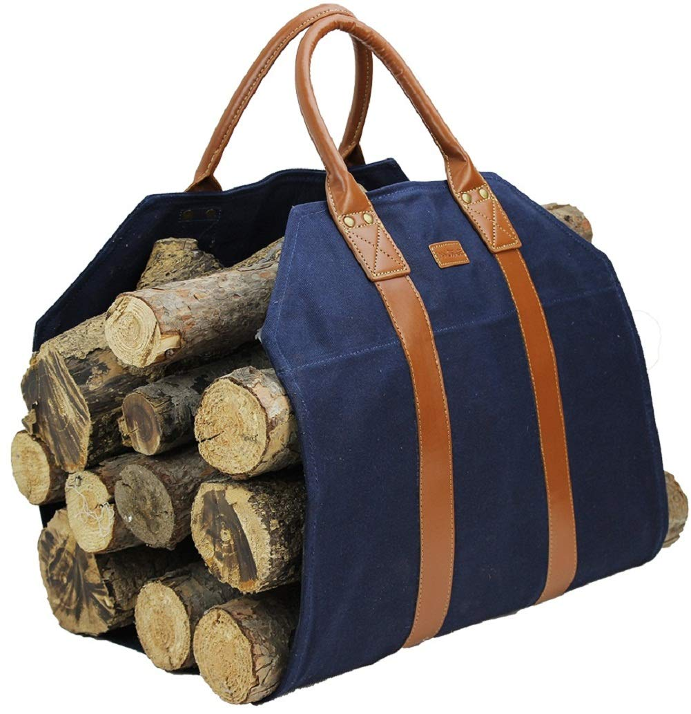 INNO STAGE Log Carrier|Waxed Canvas Log Holder|Firewood Carrier Tote Bag|Fireplace Wood Stove Accessories-Navy Blue