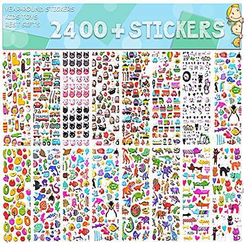 Stickers for Kids 2400+, 48 Sheets, Motorcycle Bicycle, Luggage Decal,Graffiti Patches Multiple Style Incentive Stickers for Teachers- No-Duplicate Sticker Pack