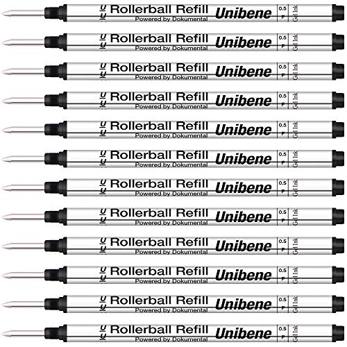 Unibene Montblanc Compatible Gel Ink Rollerball Refills 12 Pack, 0.5mm Fine Point - Black, Rolling Ball Refills Fit Mont Blanc Rollerball/Fineliner Pen