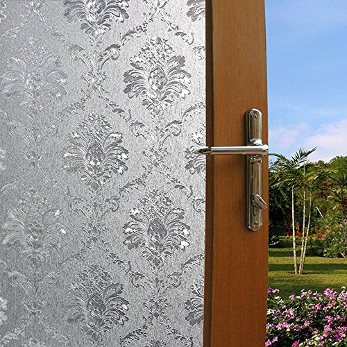 Soqool Damask Window Film Decorative Window Cling Film for Window Decor Privacy Glass Film 17.7