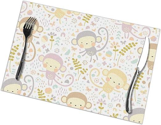 Little Monkeys by Petite Circo - Manteles Individuales Lavables para Mesa de Comedor de 12 x 18 Pulgadas, Color Gris melocotón y Crema: Amazon.es: Hogar