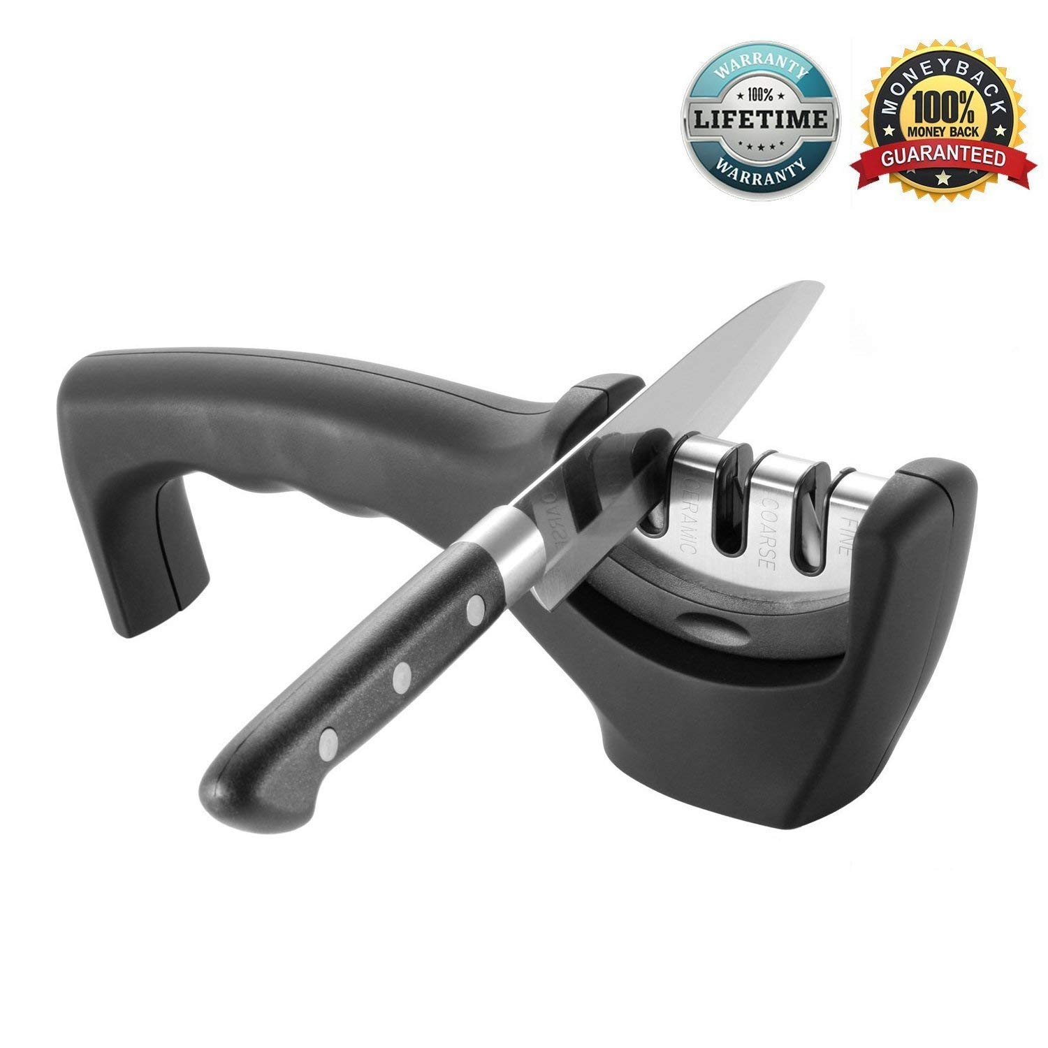AMJUK Kitchen Knife Sharpener 3 Stage Professional Knife-Sharpening System | Sharpens Steel & Ceramic Knives in All Sizes (Black)