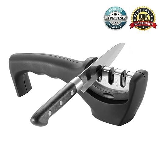 amjuk cocina afilador de cuchillos profesional de 3 fases knife-sharpening sistema | afila acero & cerámica cuchillos en todos los tamaños