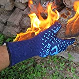 BlueFire Heat Resistant Cooking, Grilling, Welding Gloves -Great for BBQ Grill, Oven Mitts, Big Green Egg, Fireplace Accessories. Cut Resistant, Forearm Protection -100% Kevlar EN 407 Certified 932°F Heat Resistance