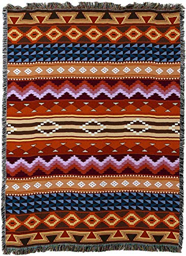 - Pure Country Weavers - Yuma Blanket | Woven Tapestry Camp Throw with Fringe Cotton USA 72x54