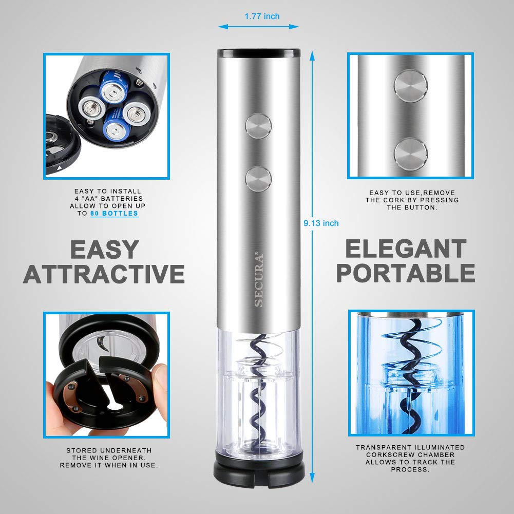 The Secura Premium Stainless Steel Electric Wine Bottle Opener and Ice Bucket Gift Set SWO-3NSET